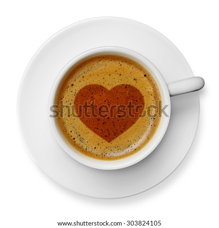 Heart on coffee