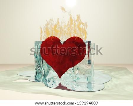 Heart on fire melting ice - stock photo