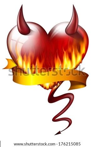 heart on fire, with sash and devil attributes, isolated on white background  - stock photo