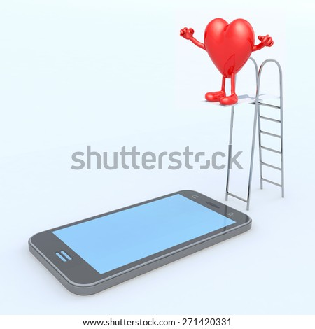 heart on ladder pool that plunges on the mobile phone screen, 3d illustration - stock photo