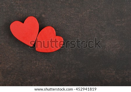 Heart on leather background, card for Valentine's day - stock photo