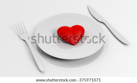 Heart on plate with fork and knife, isolated on white background.