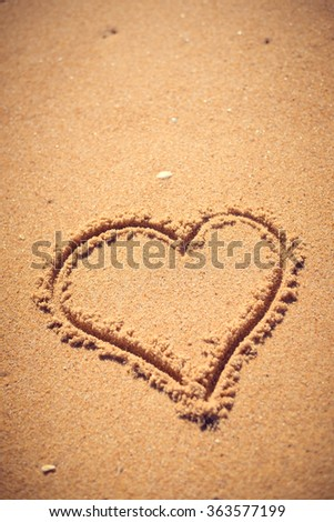 Heart on sand perfect for illustrations and backgrounds.