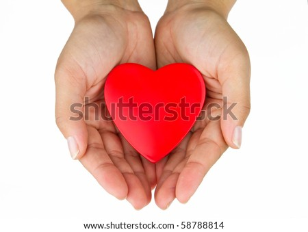 Heart on the palm - stock photo