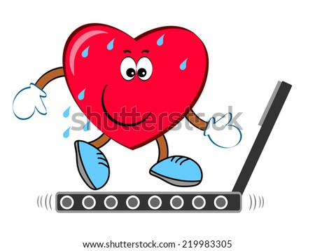 Heart  on the treadmill - stock photo