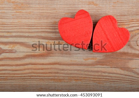 Heart on wooden background, card for Valentine's day - stock photo