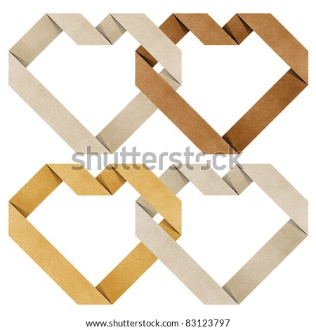 heart origami recycled paper craft  ( black , white , yellow ) - stock photo