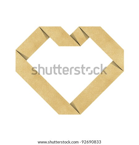 heart origami recycled papercraft - stock photo