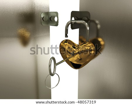 Heart-padlock with key on the gate. 3D - stock photo
