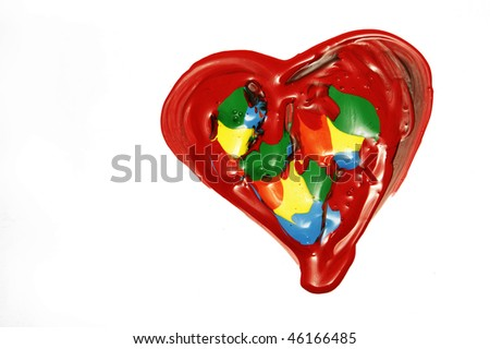 heart paint on a white background - stock photo