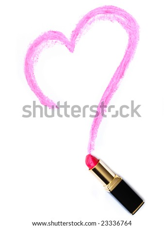 Heart painted lipstick on white background - stock photo