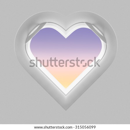 Heart pastel window plane - stock photo
