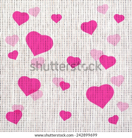 heart pattern painting on the white fabric,pink color