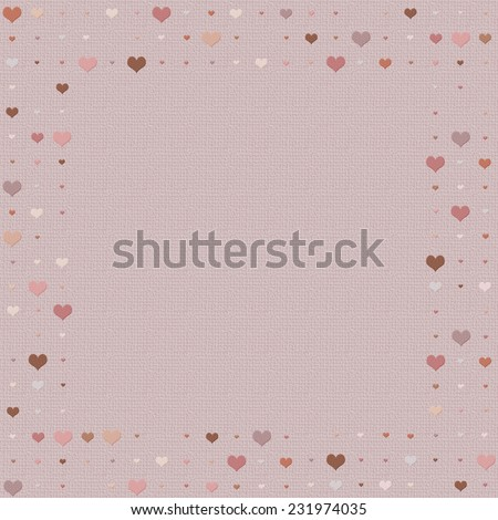Heart patterned frame/border in shades of pink and red - stock photo