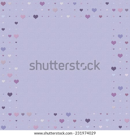 Heart patterned frame/border in shades of purple - stock photo