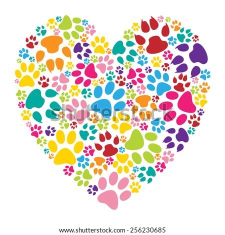 Heart paw print - stock photo
