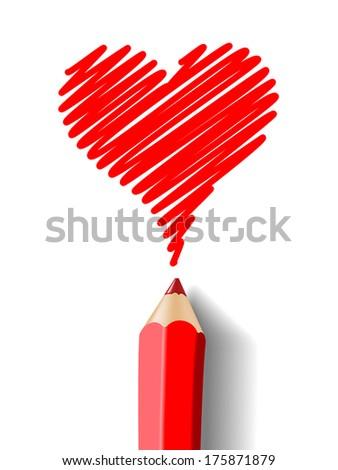 heart pencil - stock photo