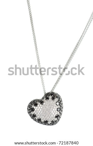 heart pendant of white gold and black and white diamond - stock photo