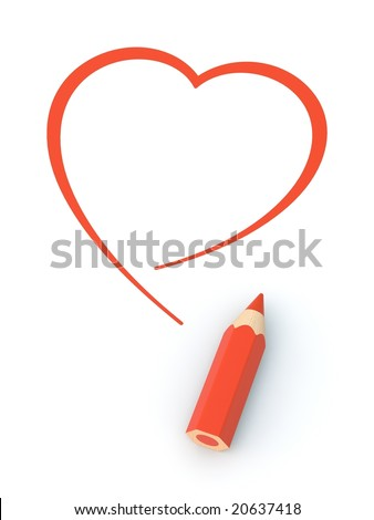 Heart pictured by pencil