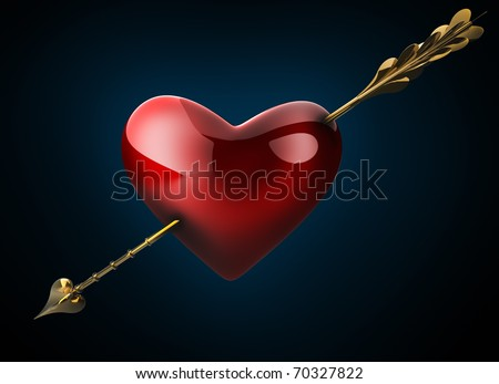 Heart pierced by an arrow. 3D image. - stock photo