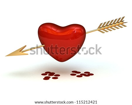 Heart pierced by an gold arrow with the drops of blood isolated - stock photo