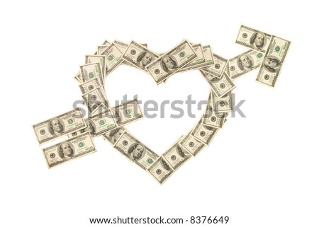 Heart pierced with arrow made of hundred dollar banknotes isolated on white background