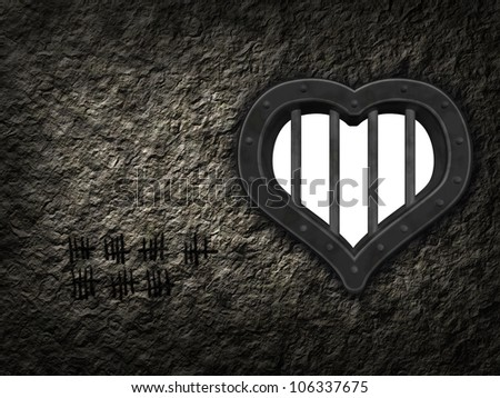 heart prison window in stone wound - 3d illustration - stock photo