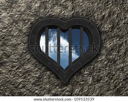 heart prison window on stone background - 3d illustration - stock photo