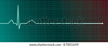 Heart pulse monitor with flatline - raster version - stock photo