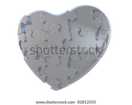 Heart puzzle. Isolated on white background