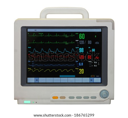 Heart rate monitor with diagram isolated included clipping path - stock photo