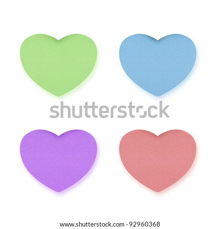heart recycled paper on white background - stock photo