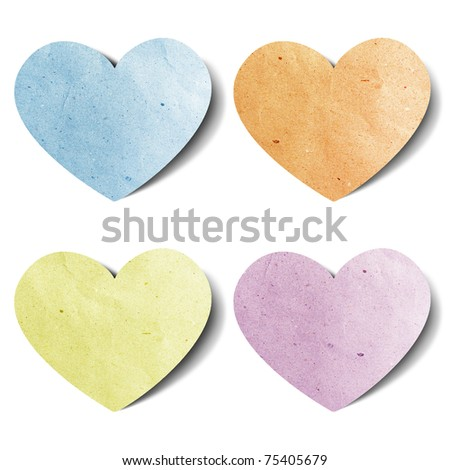 heart recycled paper stick on white background - stock photo