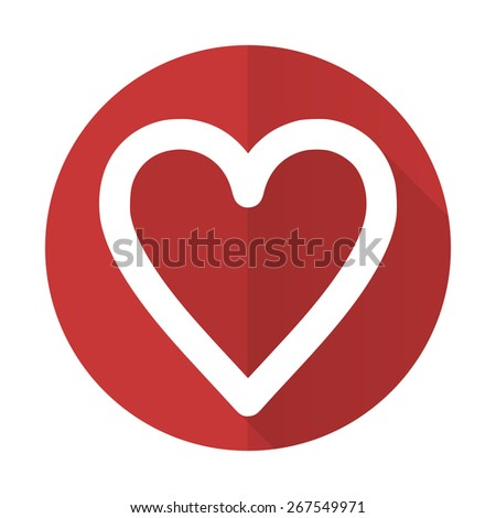 heart red flat icon love sign  - stock photo