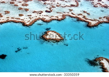 Heart Reef in The Great Barrier Reef, the largest coral reef in the world, Queensland, Australia - stock photo