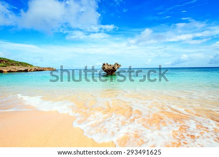 Heart rocks and clean sea, Okinawa, Japan - stock photo