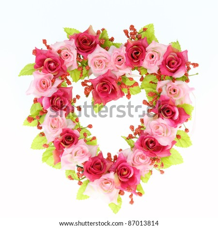 heart rose invents on white background - stock photo