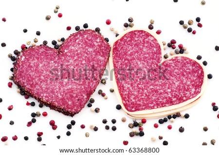 Heart Salami - stock photo