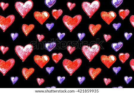 heart seamless pattern on black background. crayon color hand drawn illustration of hearts. - stock photo