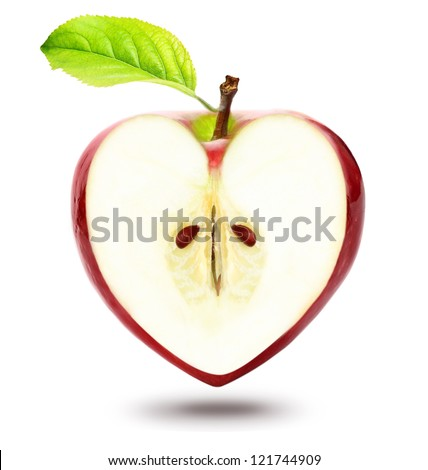 Heart shape apple isolated over white background - stock photo
