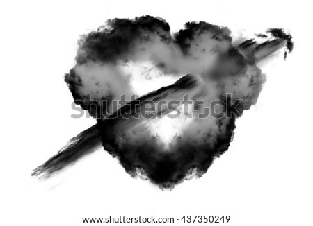 Heart shape black cloud with arrow over white background. Love and romantic passion conceptual illustration - stock photo
