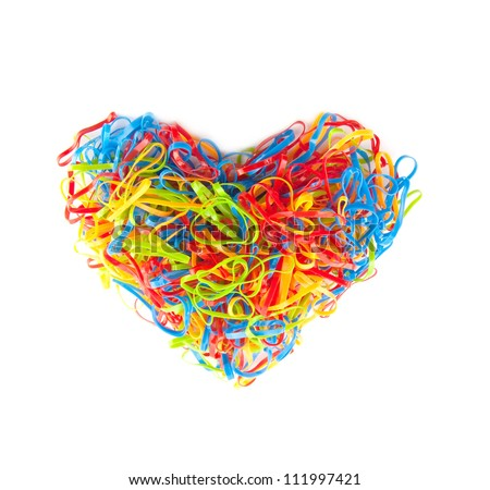 heart shape by plastic band full color - stock photo