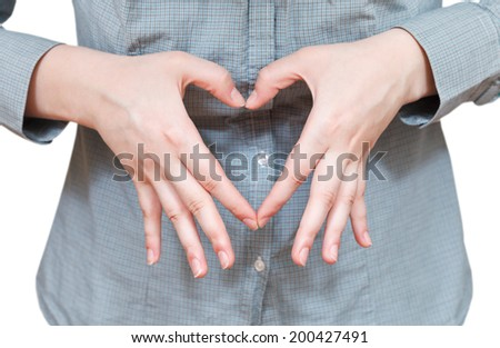 heart shape by two palm - hand gesture isolated on white background