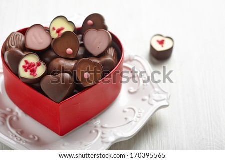 Heart shape chocolate candies - stock photo
