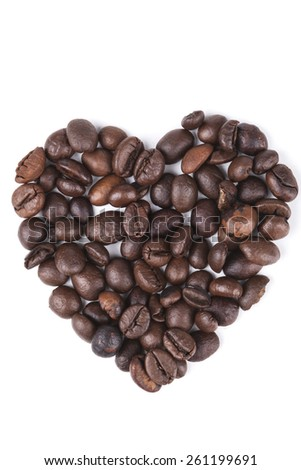 Heart shape coffee beans isolated on white background - stock photo