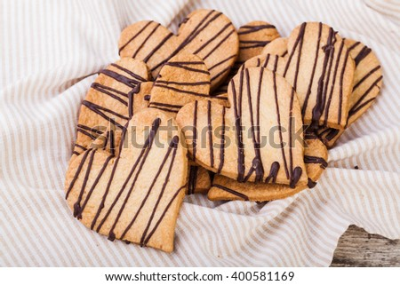 Heart shape cookies on white background