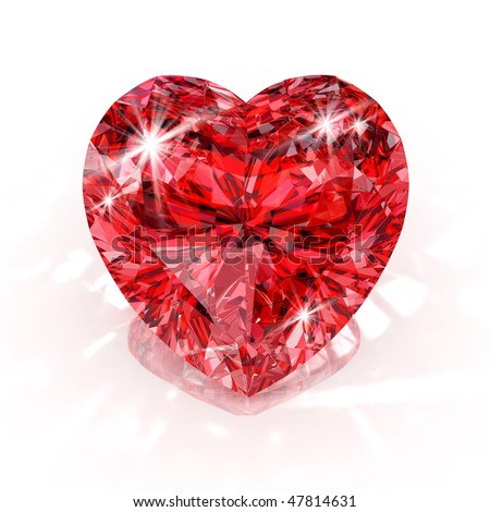 heart shape diamond isolated on white background - 3d render - stock photo