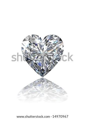 Heart shape diamond on white - stock photo