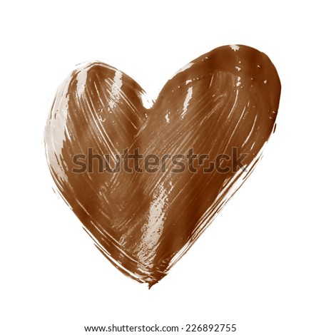 Heart shape drawn with the oil paint brush strokes, isolated over the white background - stock photo