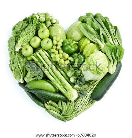heart shape form by various vegetables and fruits - stock photo